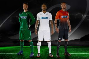Erwin Mulder, (Goal keeper Green strip), Leroy Fer (Midfielder, White strip) and Mike Van Der Hoorn (Defender, orange and black strip), Connor Roberts. professional football player, Swansea City AFC, defender wearing various SCAFC stips standing on football field with mountains and starry sky in the background and Swansea City logo floating in the sky